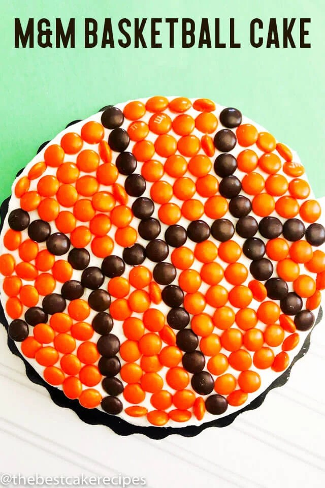 how to make a basketball cake with brown and orange m&ms
