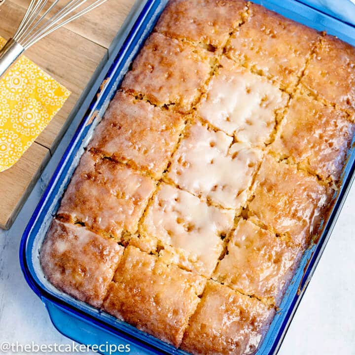 pineapple cake sliced in a 9x13 pan