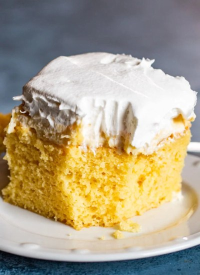 Pineapple Cream Cake with bite out of it