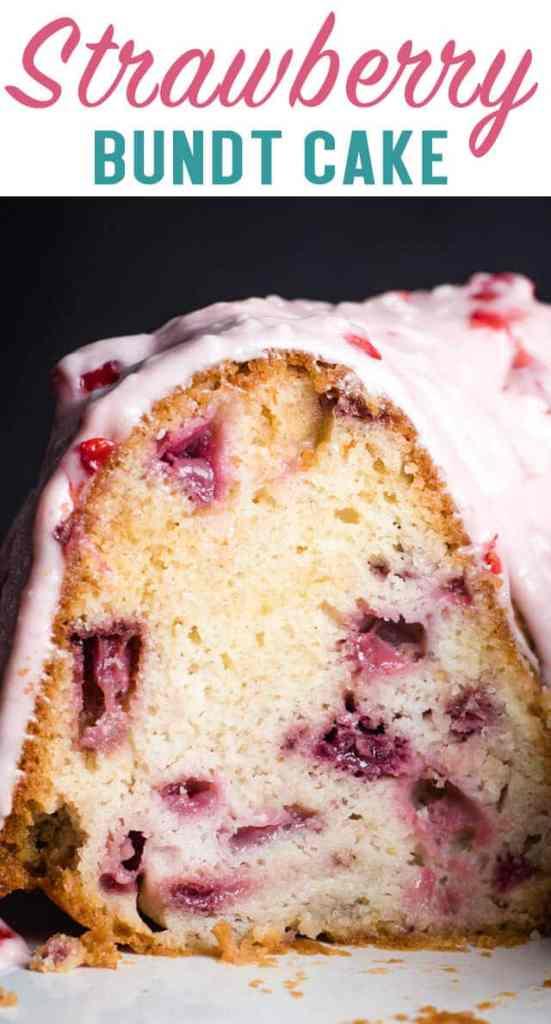 Fresh Strawberry Bundt Cake with glaze title image