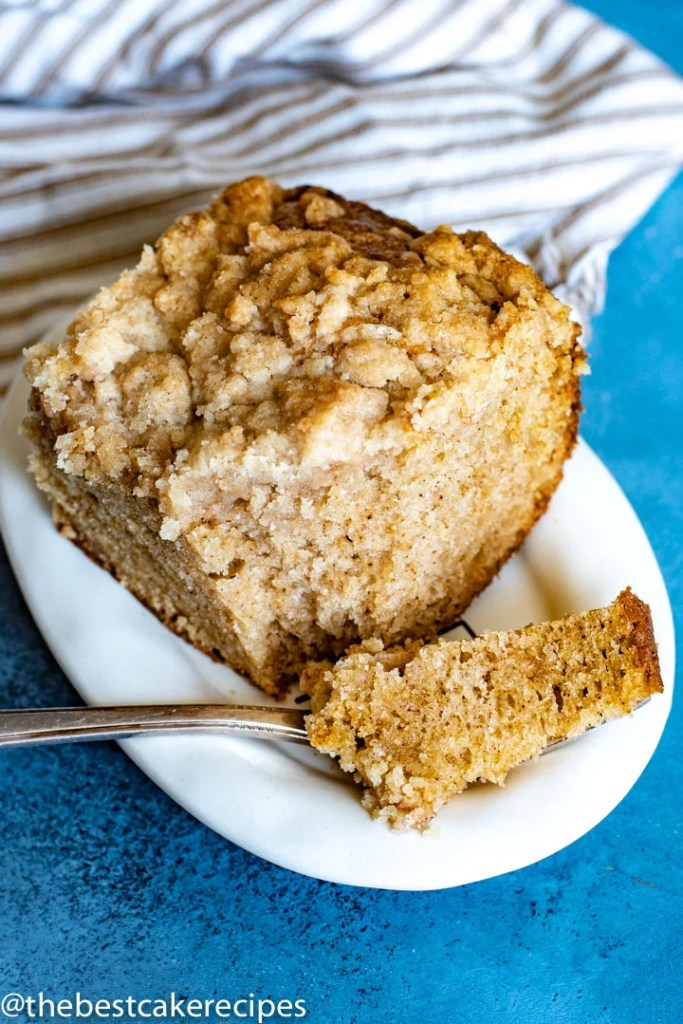 Spice Crumb Cake with fork on a plate