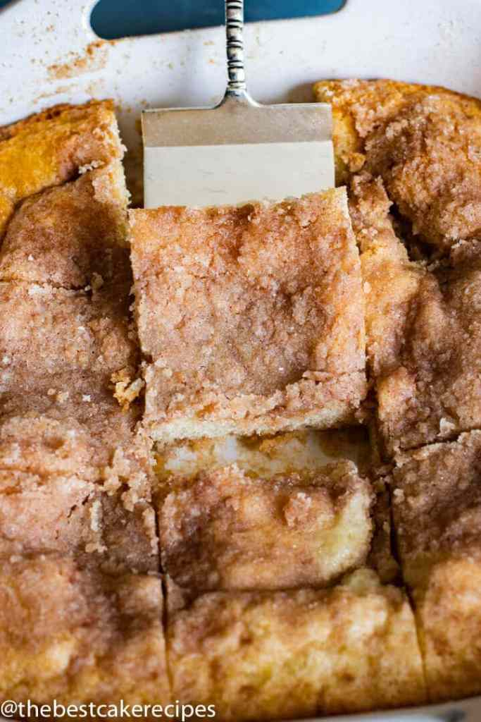 Easy Coffee Cake with piece on spatula