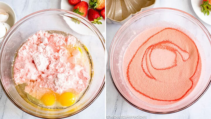 strawberry cake with cake mix and jello in mixing bowl