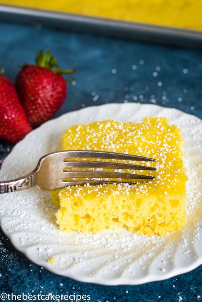 4 Ingredient Lemon Cake on a plate with a fork