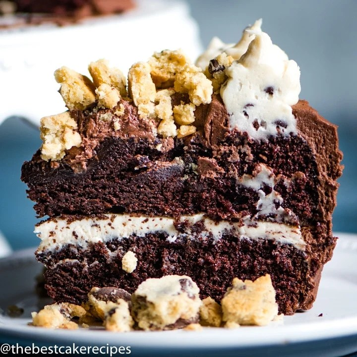 piece of Chocolate Chip Cookie Dough Cake on a plate