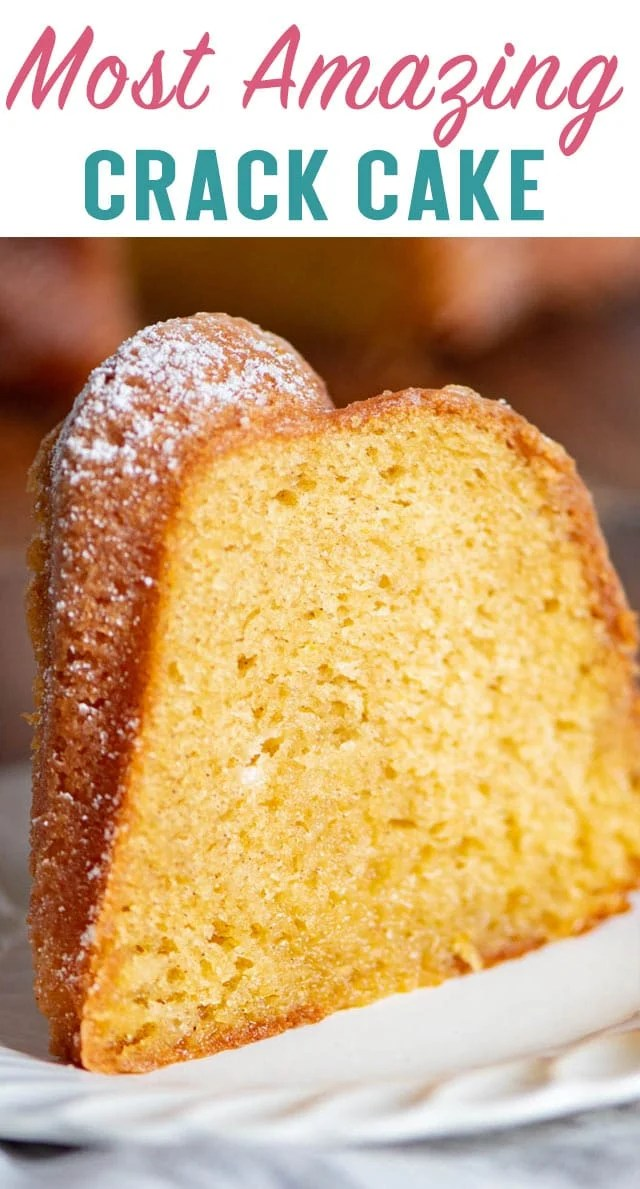 You've never had a bundt cake like this! Crack Cake starts with a box mix, but white wine makes it extra special! The most delicious cake. #cake #bestever #amazing #bundtcake #dessert via @thebestcakerecipes