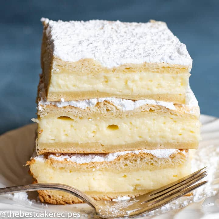 stack of breakfast cheesecake on a plate
