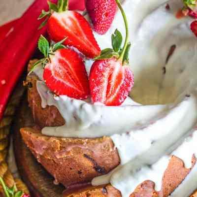 Strawberry Rhubarb Bundt Cake