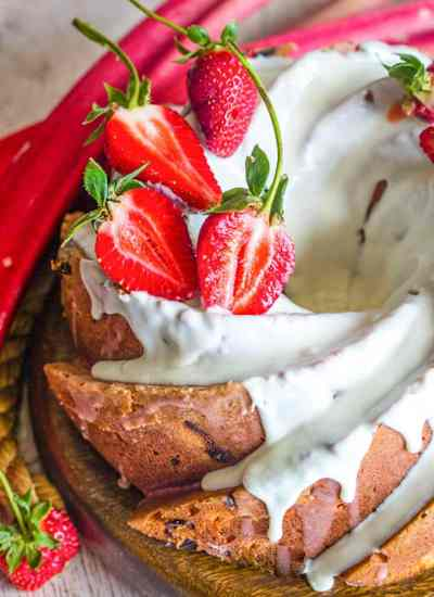 Strawberry Rhubarb Bundt Cake