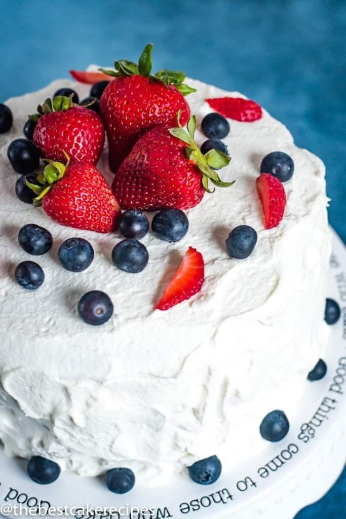 overhead shot of Patriotic Berry Cake