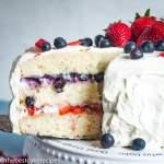 closeup of Patriotic Berry Cake