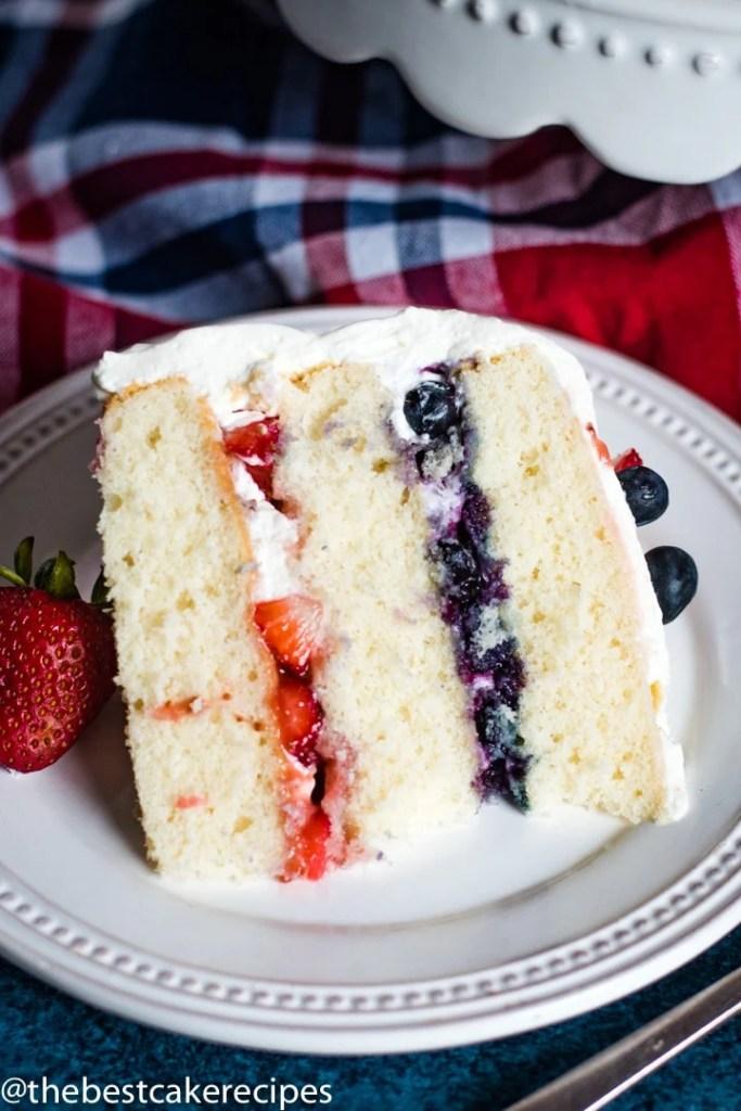 slice of Patriotic Berry Cake