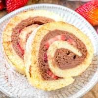 Chocolate Strawberry Cake Roll with ganache