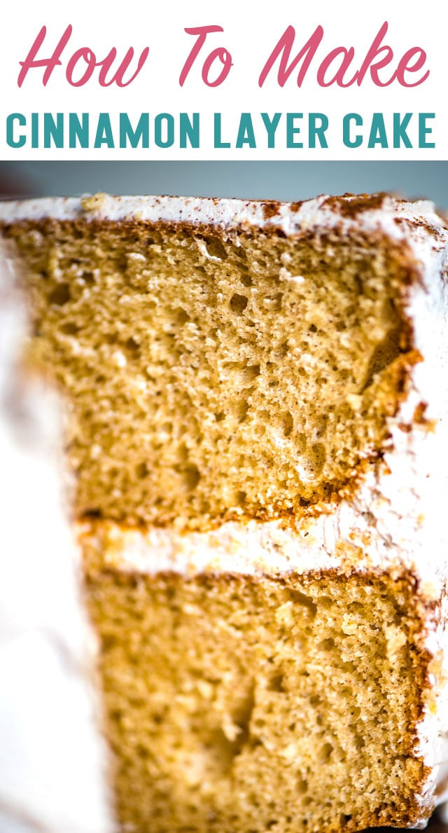Jazz up a box cake mix with cinnamon and buttery sweet cinnamon frosting. This Cinnamon Layer Cake is an easy dessert recipe that anyone can make! #cake #cinnamon #boxmix #buttercream #cinnamonbutter via @thebestcakerecipes