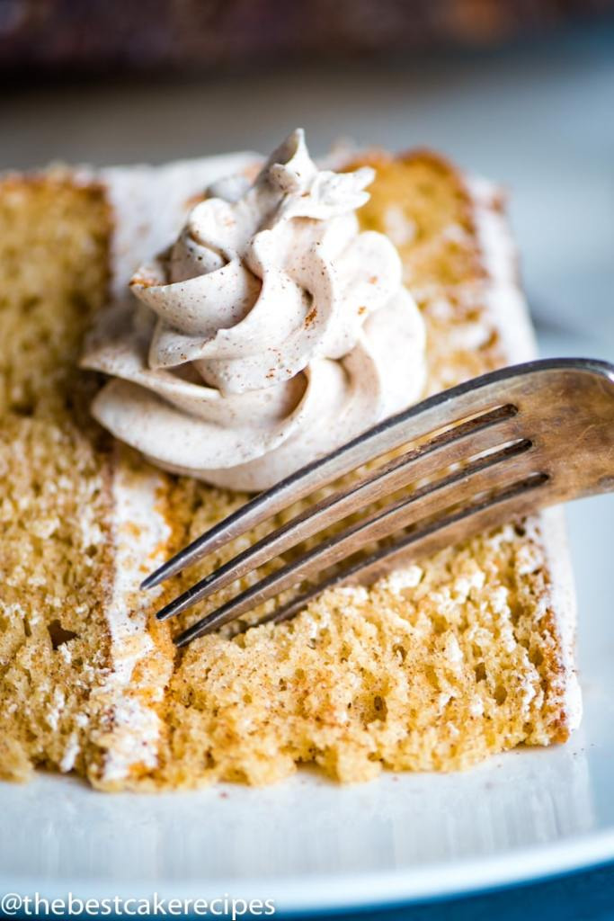 Cinnamon Layer Cake Recipe on a plate with a fork