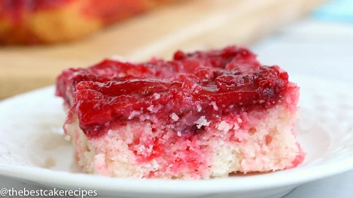 slice of Easy Strawberry Upside Down Cake on a plate