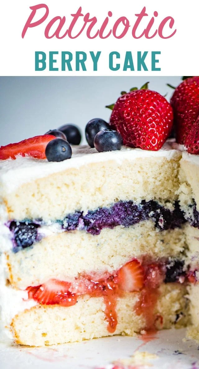 3 layers of white cake with blueberry and strawberry filling, this Patriotic Berry Cake is the perfect summer dessert! You'll love the light, whipped frosting on top. #whitecake #3layers #cake #patriotic #july4 #berries via @thebestcakerecipes