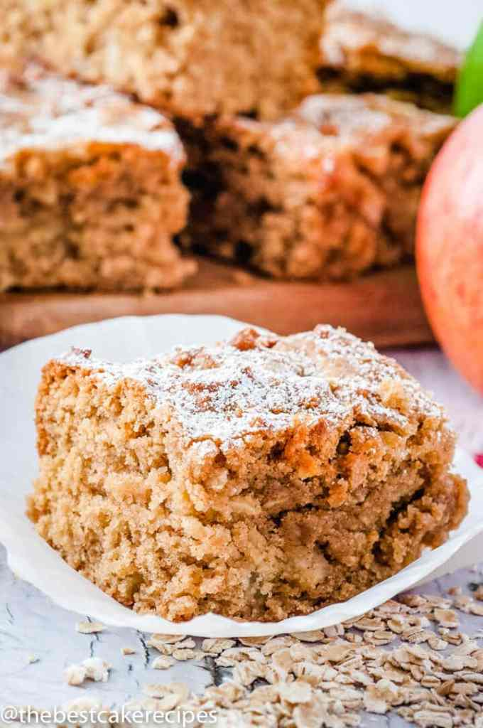 piece of Apple Oatmeal Snack Cake on a plate
