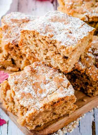 Apple Oatmeal Snack Cake on a plate
