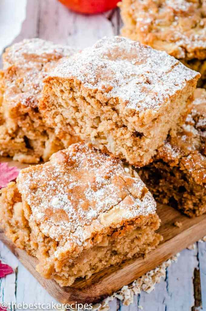 stack of Apple Oatmeal Snack Cake on a plate
