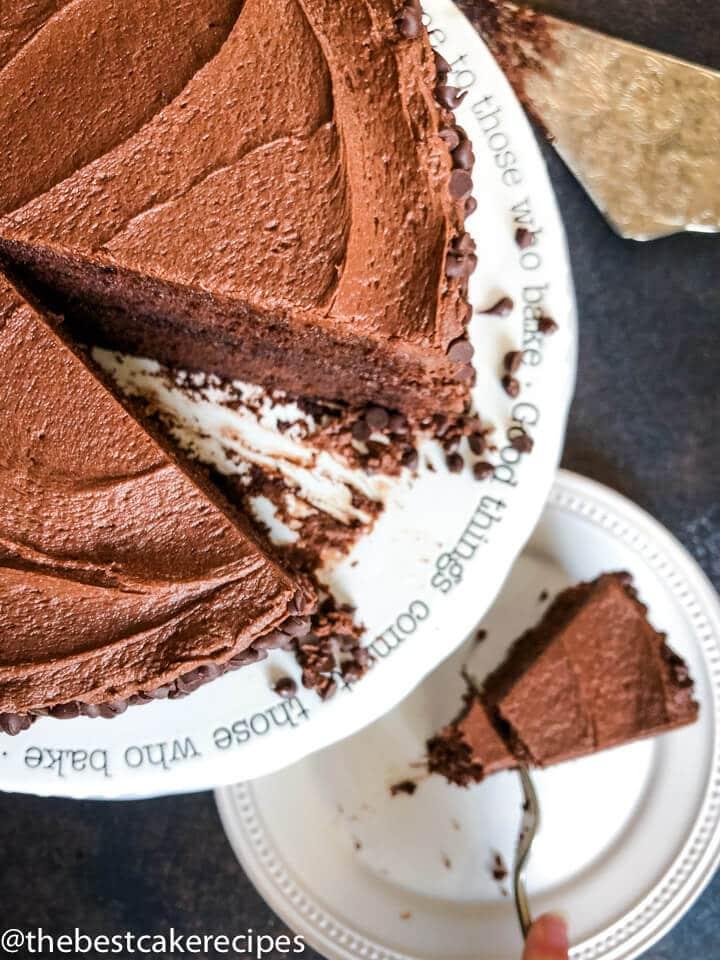 overhead shot of Barley Flour Chocolate Cake