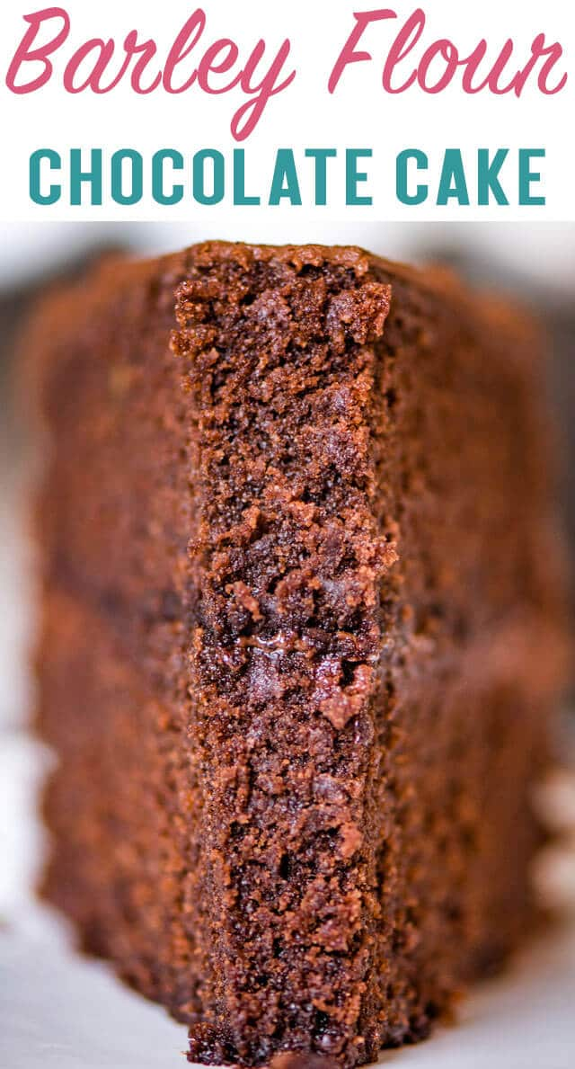 This barley flour chocolate cake is so moist you'll never believe it is whole grain! Thick, rich and decadent 2 layer cake. via @thebestcakerecipes