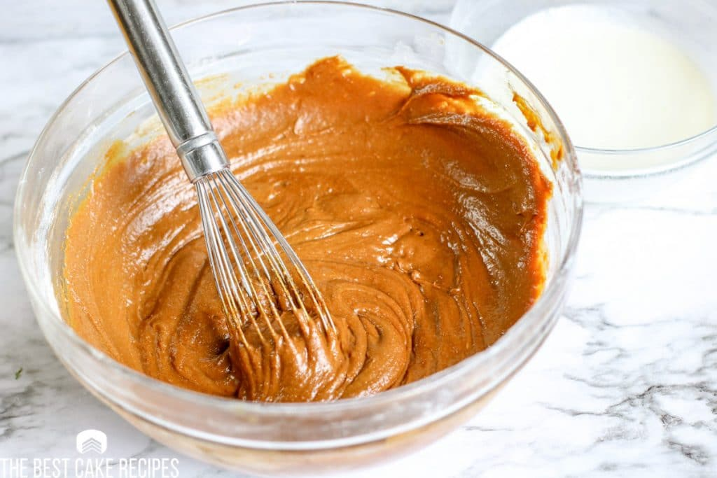 gingerbread cake batter in a bowl