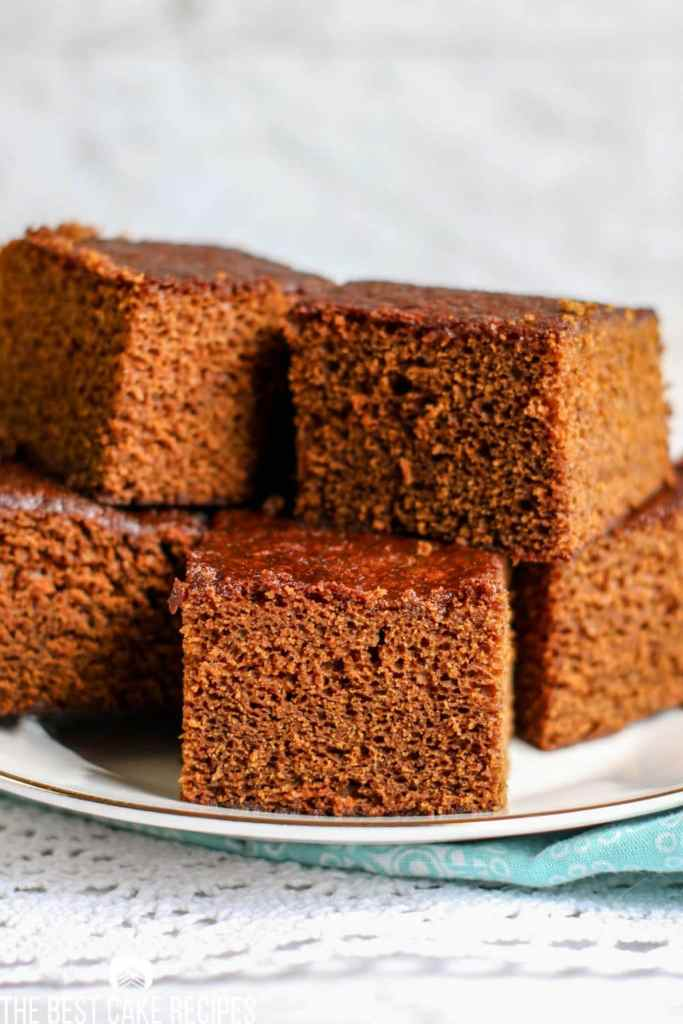 unfrosted Gingerbread Cake on a plate