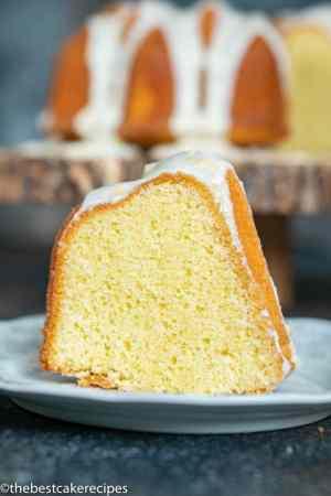 lemon bundt cake slice on a plate