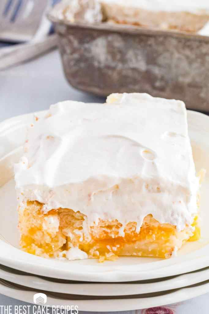 Pineapple Orange Angel Food Cake on a plate