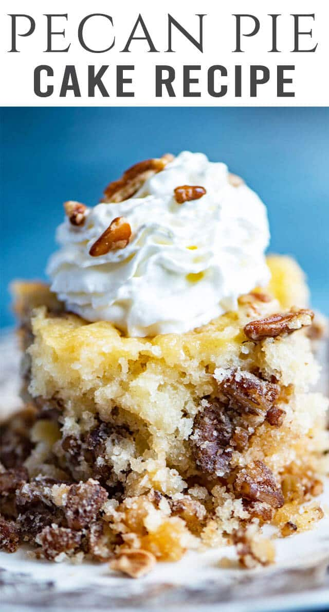 If you love pecan pie, you'll go crazy for this easy pecan pie cake! It's a homemade cake with sugary pecans inside. Best served with ice cream! #cake #pecanpie #dessert via @thebestcakerecipes