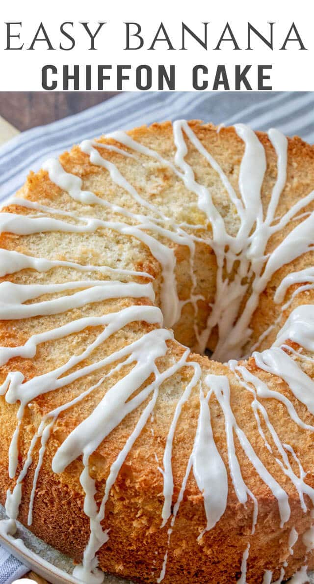 Wondering how to use ripe bananas? Try this easy homemade Banana Chiffon Cake. It's light and moist with a simple powdered sugar glaze. #banana #cake #chiffon #dessert via @thebestcakerecipes