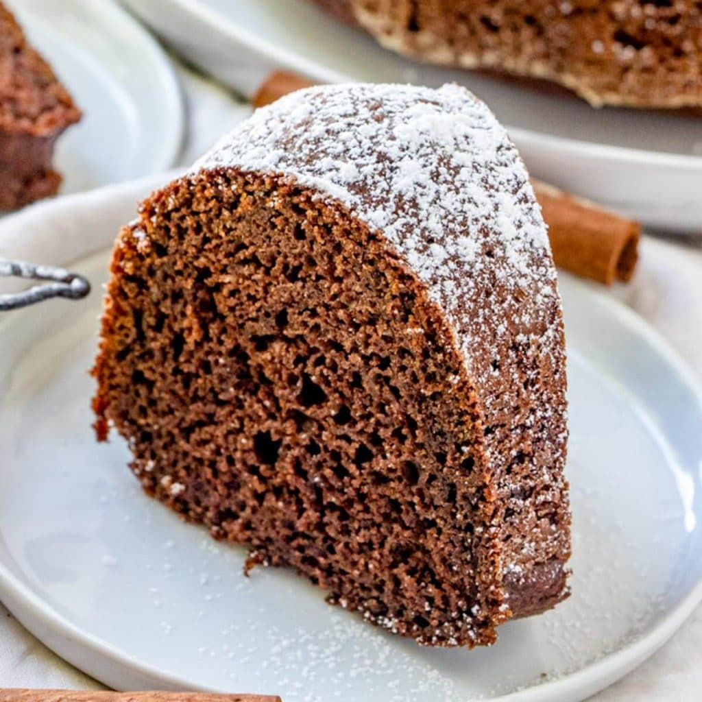 Pumpkin Chocolate Bundt Cake with powdered sugar