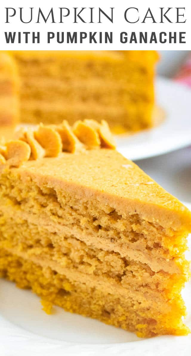 Three layers of homemade pumpkin cake with pumpkin ganache. Your Thanksgiving dessert just went to the next level! A great make-ahead dessert for the holidays. #pumpkin #cake #homemade #dessert via @thebestcakerecipes