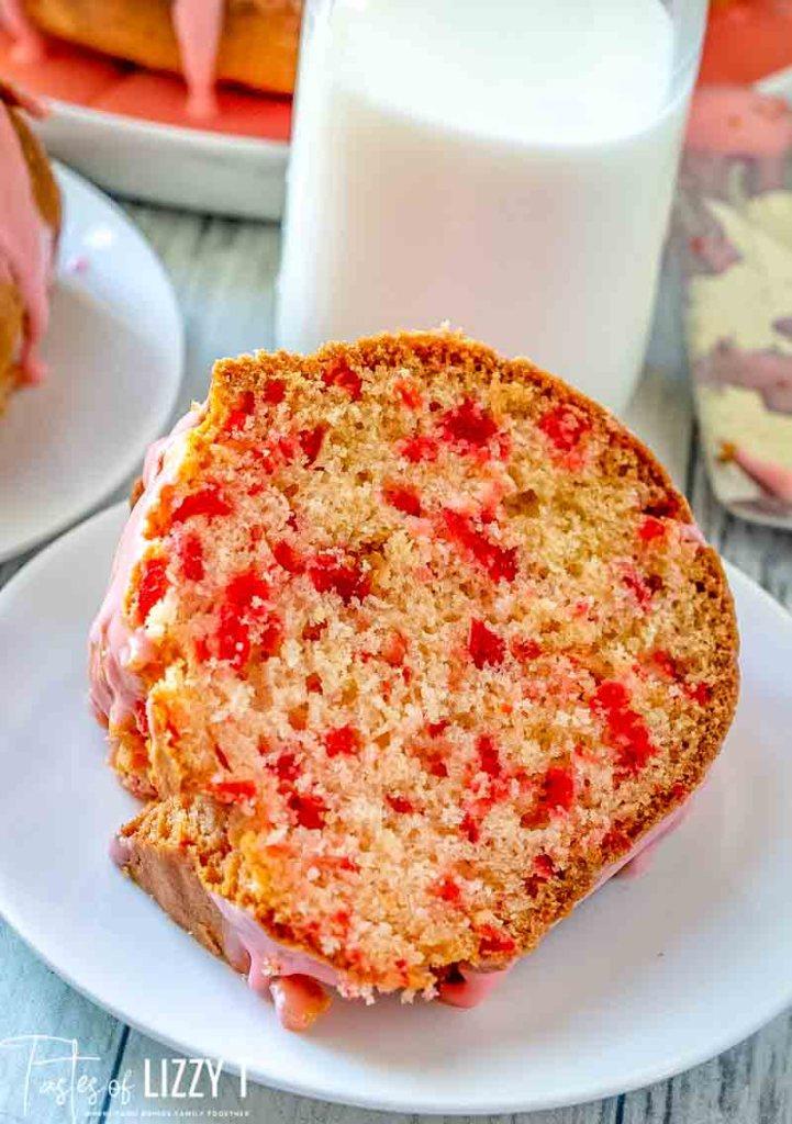 slice of Cherry Bundt Cake on a plate