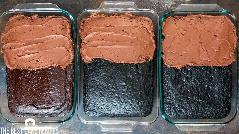 difference in cocoa powders on half frosted cakes