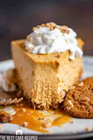 bite out of creamy pumpkin cheesecake