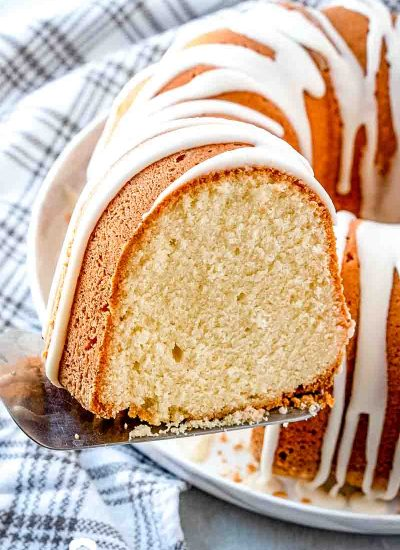 French Vanilla Butternut Pound Cake on a spatula