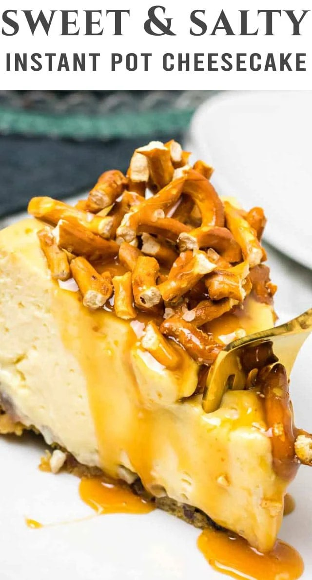 Make this Caramel Pretzel Cheesecake in the Instant Pot! A creamy cheesecake tops a cookie dough crust. Add caramel and pretzels for a sweet and salty crunch. #cheesecake #instantpot #caramel #pretzel via @thebestcakerecipes