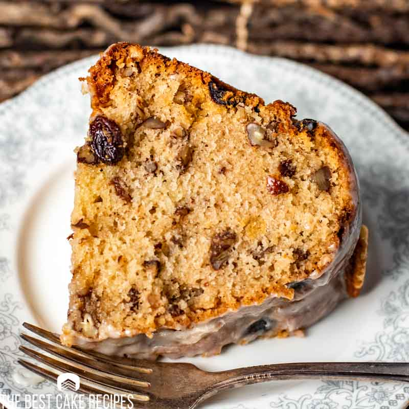 Pecan Raisin Bourbon Cake with glaze