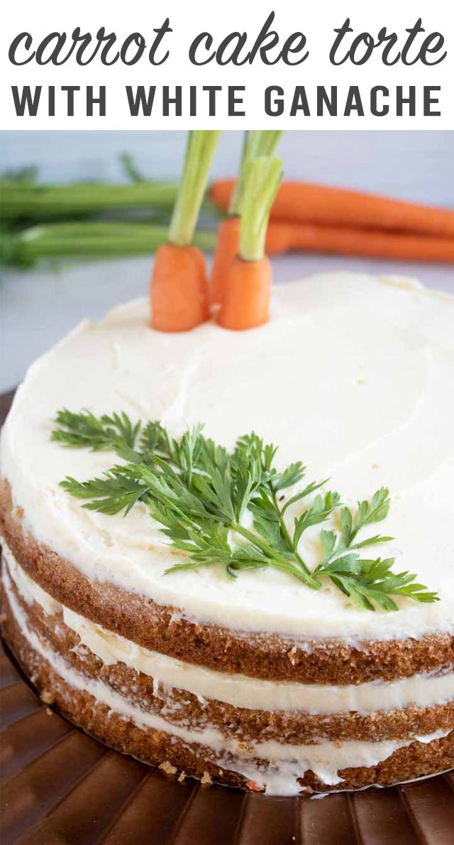 6 layers of deliciousness! Carrot Cake Torte has 3 layers of carrot spice cake and 3 layers of white chocolate ganache. The perfect cake for spring! #easter #cake #carrotcake #layercake via @thebestcakerecipes
