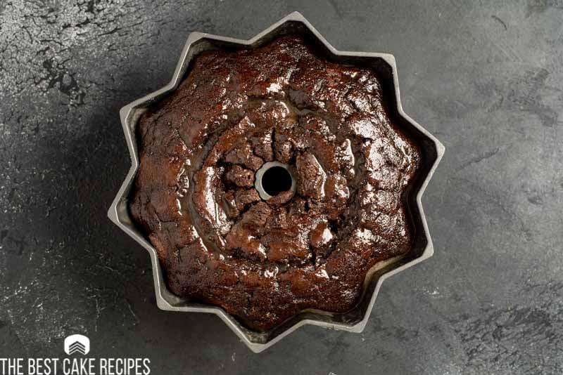 chocolate cake in bundt pan