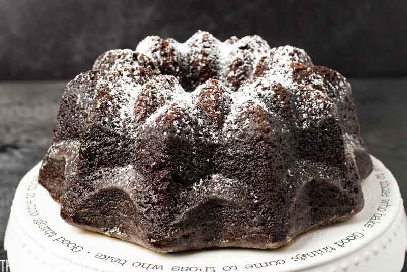 chocolate crack cake on cake plate