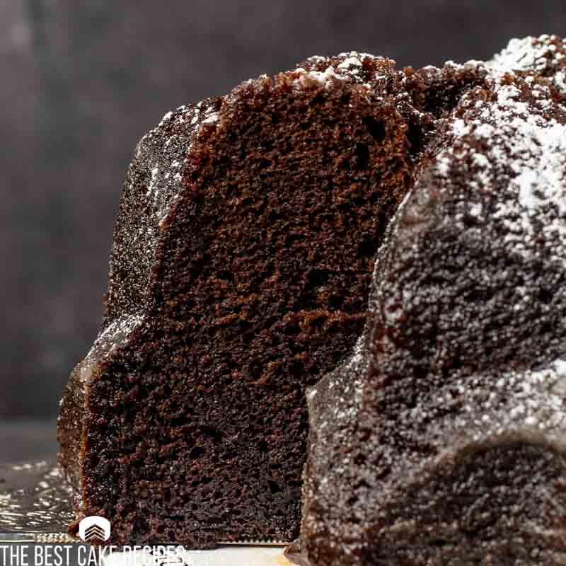 chocolate cake on a spatula