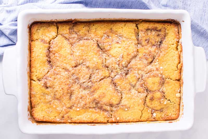 overhead view of 9x13 Peach Dump Cake