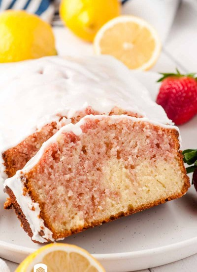 slices of glazed strawberry loaf cake