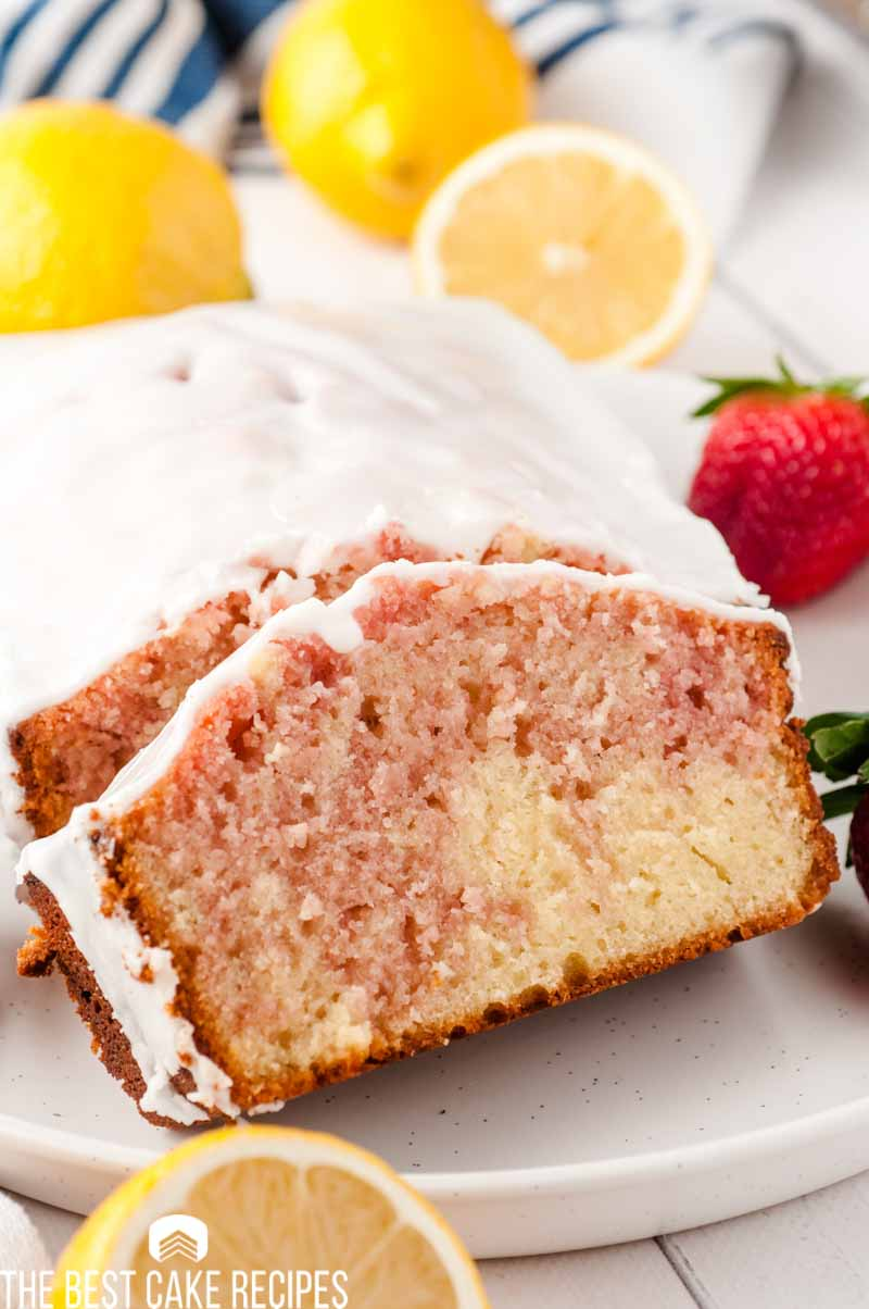 slices of glazed strawberry loaf cake