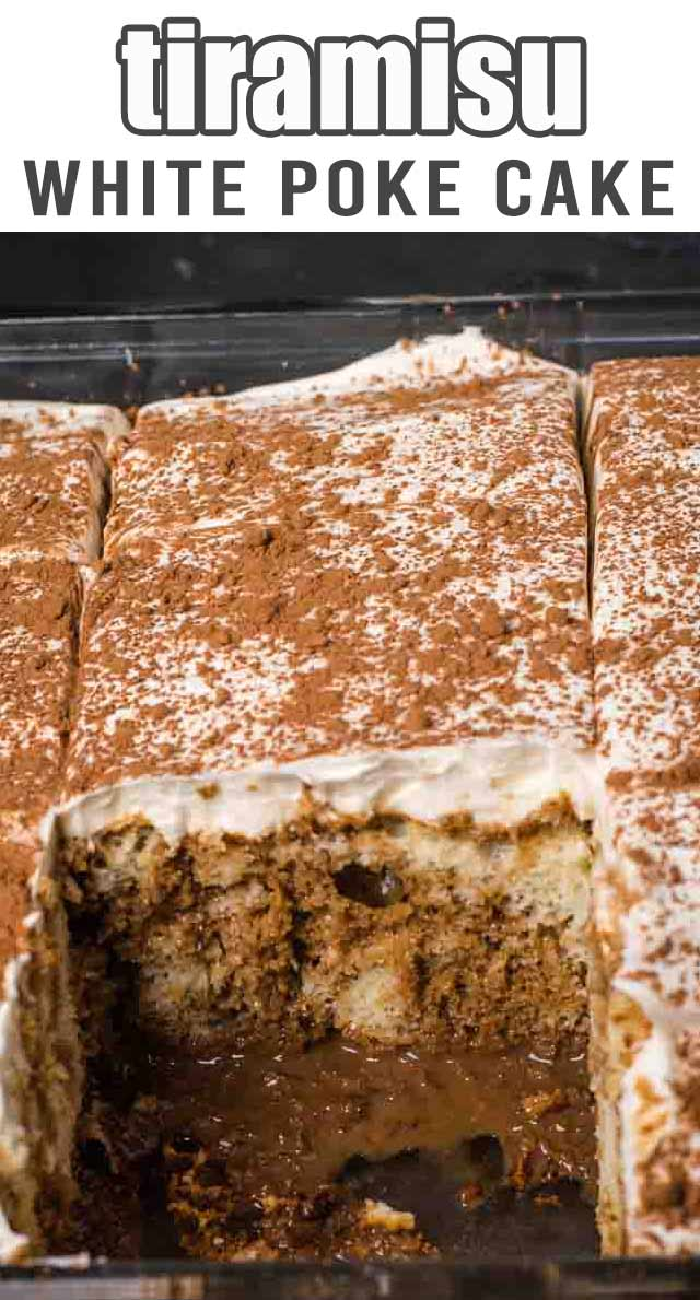 Love tiramisu but hate all the work? This easy Tiramisu Poke Cake with Kahlua is easy and delicious! via @thebestcakerecipes