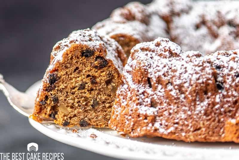 applesauce bundt cake with piece on spatula