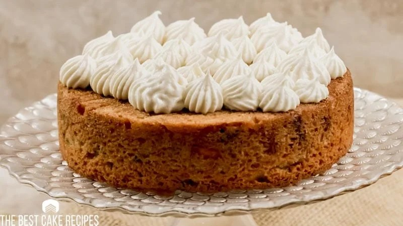 cake with cream cheese frosting on top
